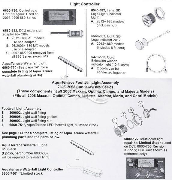 Sundance Spa Dcu Waterfall Light Controller  880 Series