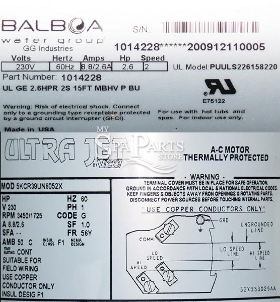 Vico Ultra Jet 2 6 Hp  230 Volt  2 Speed  48 Frame Pump