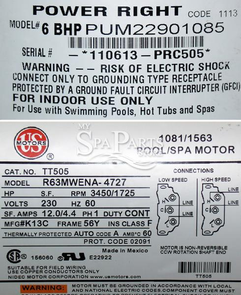 Cal Spa 6 Bhp Power Right Replacement Pump Motor 56 Fr