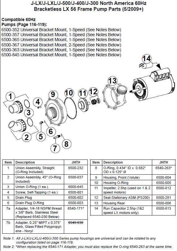 Jacuzzi Spa Lx 56 Frame Pump Impeller 2 5hp